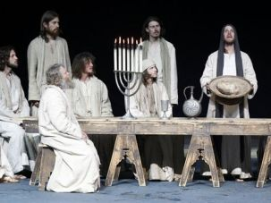 A Modern Jesus: The Oberammergau Passion play has been staged about every 10 years since 1634. Frederick Mayet (with bread) portrays Jesus in this rehearsal of the Last Supper.