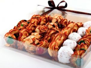 Ooh La La: Pastry chef Francois Payard creates French-inspired Passover desserts like these Petit Fours.The box is a collection of almond cookies and flavors include cherry, chocolate chip, slivered almond, candied orange and powdered sugar.