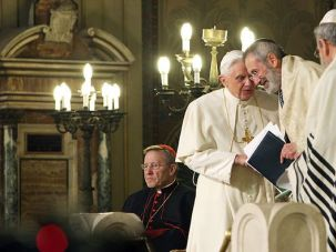 When in Rome: Pope Benedict XVI, pictured here speaking with Rome?s chief rabbi, visited the city?s Great Synagogue on January 17.