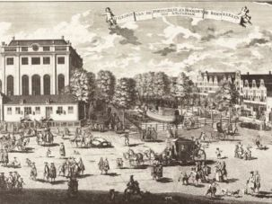 On Tour: The da Costas visited the Portuguese Synagogue of Amsterdam, the far left building in this 18th century print.