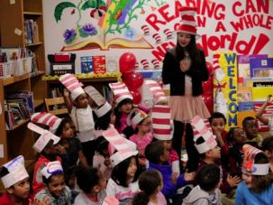 Schooled: Kindergarden students in New York City on Read Across America Day this March.