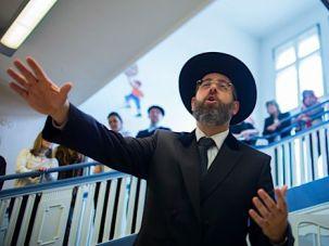 On Top For Now: Chief Ashkenazi Rabbi Blau speaks at a Jewish school in Berlin.