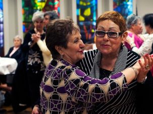 Top: Emigrés Irina Kapilevich, left, and Esfira Knafelman, on the dance floor