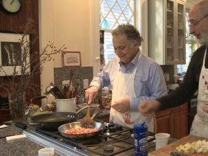 Cooking Buddies: ?Five Friends? tackles the problems men face when having non-sexual, intimate relationships. In this scene, producer Hank Mandel (right) cooks with his friend Charlie Negaro.