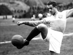 Goal: Jewish star soccer player Erno Schwarcz was a member of Austria's Hakoah Athletic club and went on to coach the United States men's national soccer team ahead of the 1958 World Cup. Here he is pictured in 1926.