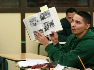 Making a Point: Jeffery Rivera, a prisoner enrolled in the Bard Prison Initiative, discusses the Holocaust in a course offered at the Woodbourne Correctional Facility.