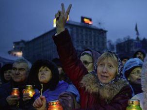 Victory: Ukrainians cheer the news of President Viktor Yanukovych?s ouster.