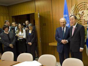 Global Warming: Israel?s president, Shimon Peres, met with United Nations Secretary-General Ban Ki-moon in New York last May.