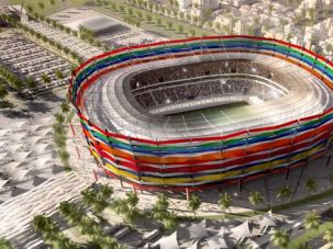 Desert Oasis: An artist?s impression of what trees could look like if Qatar?s stadium surroundings could maintain them.