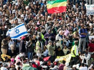 Freedom March: Thousands of African immigrants marched on the U.S. embassy in Tel Aviv demanding freedom for those detained in a desert jail.