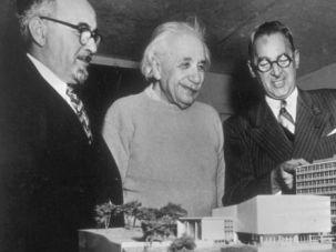 Model Hospital: Albert Einstein checks out scale model of Yeshiva University's medical school in the Bronx.