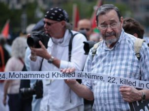 Growing Opposition: Protester demonstrates against Gaza war in New York.