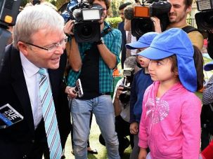 Vote for Me: Australian Prime Minister Kevin Rudd campaigns ahead of the upcoming election. Jewish leaders say the community is leaning toward the rival Liberal Party.