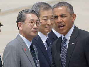 Break Time: President Obama, on a diplomatic visit to Korea, suggested the Mideast peace talks may need a break.
