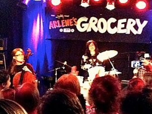 Bulletproof Stockings: Dalia Shusterman (on drums) and Perl Wolfe (right) play for a women-only crowd on August 7. 2014.