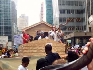 Wake-Up Call: Religious leaders gather on Noah's Ark at the People's Climate March in New York.