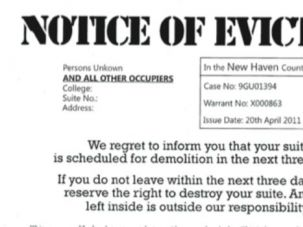 Get Out: Students at NYU found notices similar to this slipped under their dorm room doors as part of a campaign by pro-Palestinian students.