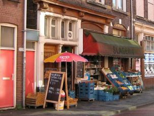 A street scene in Schilderswijk, the neighborhood in The Hague where a Jewish resident's efforts to erect a sukkah have sparked controversy.