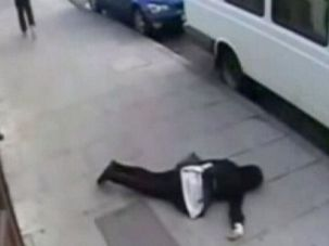 Down and Out: The victim of a previous 'knockout' attack.