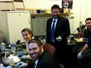 Solving Mystery: Orthodox Union rabbis sought DNA testing help from American Museum of Natural History researcher Sebastien Kvist (seated, right) to learn the origins of microscopic worms in capelin roe (below) and sardines.