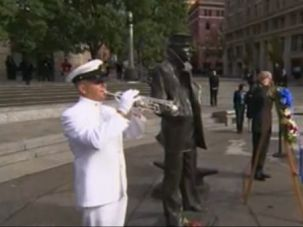 Jewish Past: The ?Lone Sailor? statue used for the memorial service to honor the 12 victims of the Navy Yard shooting was created by Jewish sculptor Stanley Bleifeld.