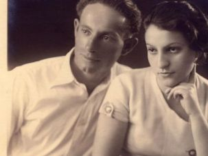 Lusia Horowitz, right, and her partner, Abrasha Margulies (Avraham Margalit), in an undated photograph from the mid-1930s.