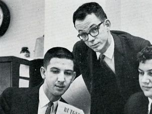 Campus Revolutionaries: Melvin Meyer (far right) edited the University of Alabama?s Crimson White with Robbie Roberts (middle) and Harve Mossawir.