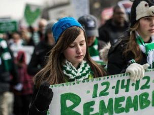 Stop the Violence: Students from Newtown, Conn., joined a rally against gun violence in Washington.