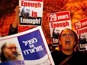 Freedom Now: Esther Pollard leads a demonstration in Tel Aviv urging the U.S. to free convicted spy Jonathan Pollard.