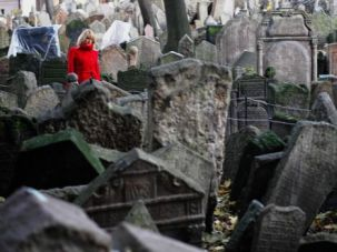The Jewish cemetery in the Old Town quarter in Prague.