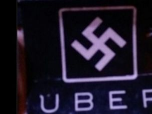 Signs for the Uber car service were defaced with swastikas.