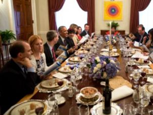 First Family Freedom: President Barack Obama and First Lady Michelle Obama host a Passover Seder dinner in the Old Family Dining Room of the White House on April 3.