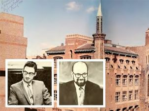 Accused: Yeshiva University High School for Boys, where George Finkelstein (left inset) and Macy Gordon (right inset) are alleged to have had inappropriate sexual contact with students, is located in Manhattan. Both men deny the charges. These images were taken from the 1970 Elchanite Yearbook.