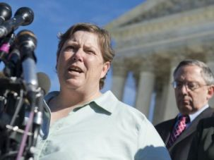 Prayer Fight: Susan Galloway, who is Jewish, speaks as Supreme Court hears case about town hall prayer meeting.