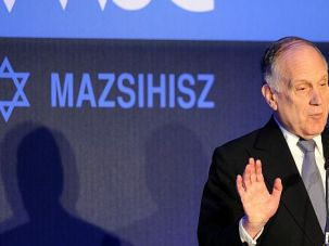Stop the Hate: World Jewish Congress leader Ronald Lauder addresses plenary meeting in Budapest.