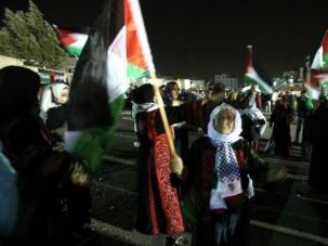 Free at Last: Relatives of freed Palestinian prisoners gathered in October to welcome them home in the West Bank. Another round of prisoners is expected to be freed Monday.