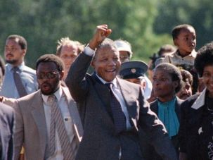 Two Sides: Nelson Mandela greets supporters after being freed from prison in 1990. Despite his status as a beloved icon of democracy, Mandela also had some moments when he made Jews uncomfortable.