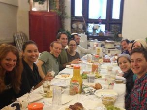 Members of The Beis share breakfast after singing the Hallel thanksgiving prayers for Hanukkah, December 2014, at Beth Hamedrash Hagadol, on 178th Street in Manhattan