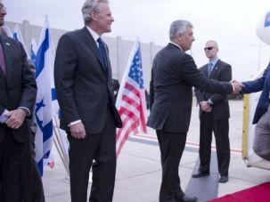 Tough Man: Pentagon chief Chuck Hagel arrives in Israel on a visit intented to signal a tough line against Iran.