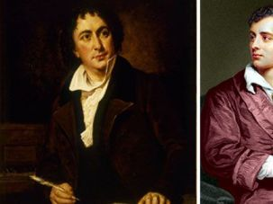Words and Music by ?: Isaac Nathan writes on the left, Lord Byron (in gown) on the right.