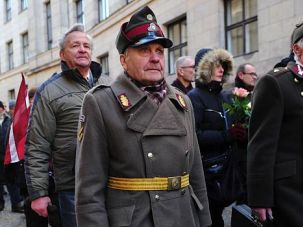 Riga Rally: Latvian veterans of a pro-Nazi group march in Riga. The annual demonstration has taken on new significance with the tension over Russia?s confrontation with Ukraine.