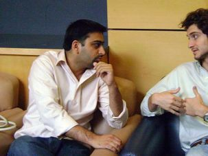 Deep in Conversation: Sam Adelsberg, right, and Salman Ravala discuss a point during a two-week workshop for 30 social entrepreneurs from the United States and Europe. The Ariane de Rothschild Fellows program was held in July at Columbia University?s Business School.