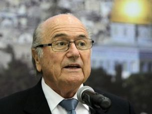 Holy Game: FIFA chief Sepp Blatter visits Israel after meeting with Palestinian officials. He vowed to push for more freedom of motion for Palestinian soccer players from Gaza and the West Bank.