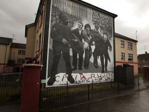 Tale of 2 Struggles? Mural in Northern Ireland depicts struggle against British rule. A Sinn Fein councillor suggested Israel should be bombed to get it to negotiate seriously.