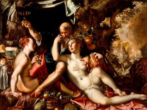 """Joachim Anthonisz Wtewael. """"Lot and His Daughters,"""" c. 1597-1600. Los Angeles County Museum of Art"""