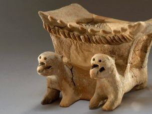 An altar supported by lions, one of the antiquities discovered in Yavneh.