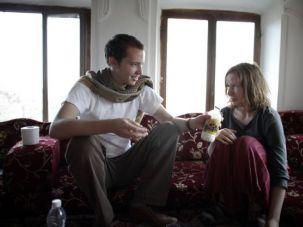 Camel?s Milk: Josh Berer, 24, invites Rachael Strecher, 23, to take a taste of a Yemeni delicacy.