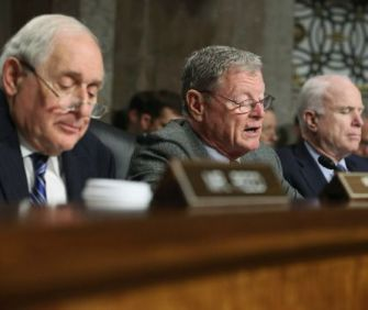 (L-R) Sens. Carl Levin, Jim Inhofe and John McCain at Chuck Hagel confirmation hearing, Jan. 31, 2013.