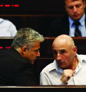 Yair Lapid and Ofer Shelah in Knesset