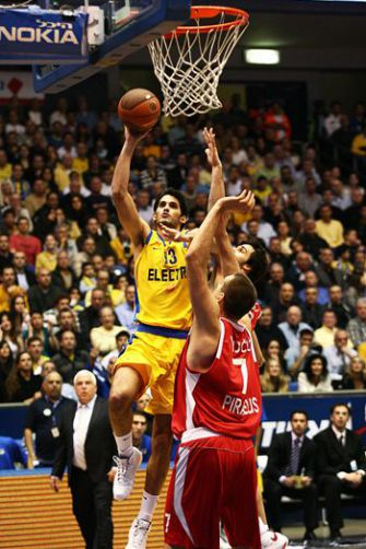 Swish: Omri Casspi, shown here taking a shot, is among the players traveling to the U.S. to play the Knicks and the Clippers.